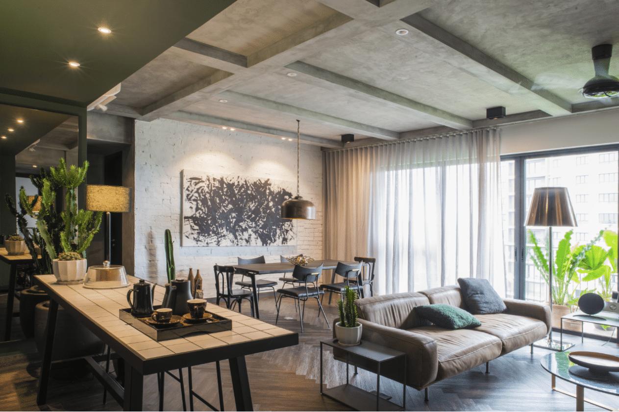 grand séjour salon aménagement grand espace moderne