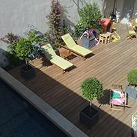 Aménagement extérieur, terrasse et construction d'un bassin