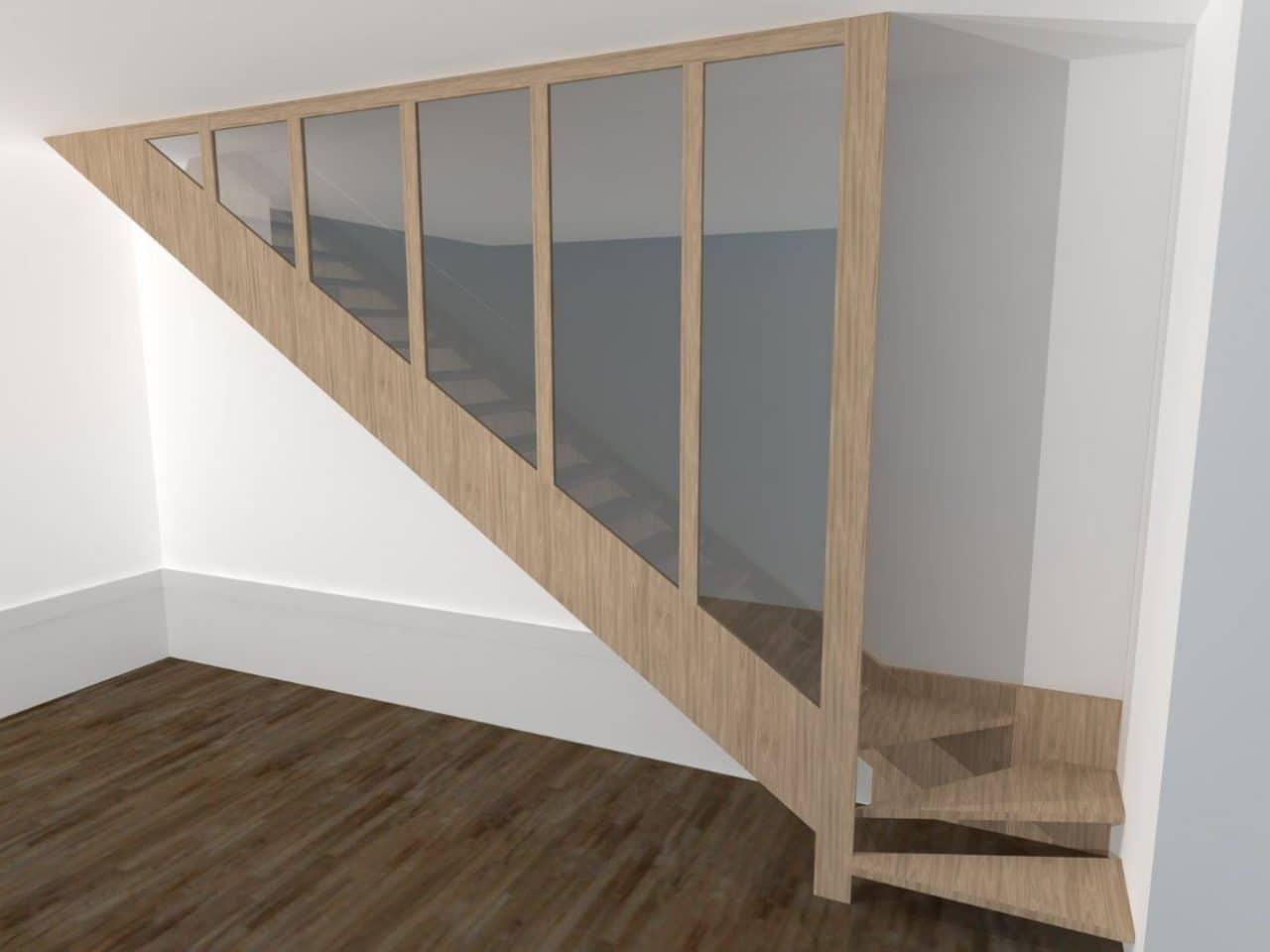 rénovation d'une maison à Fontaines-sur-Saône : escalier 3D