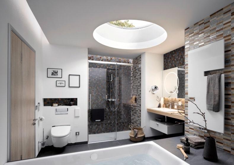 puits de lumière dans une salle de bain