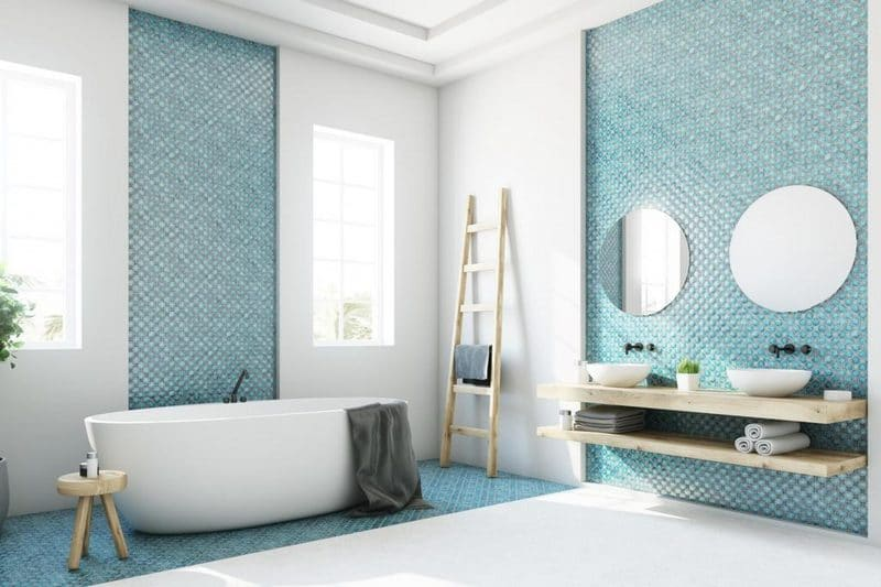 rénovation d'une salle de bain bleu