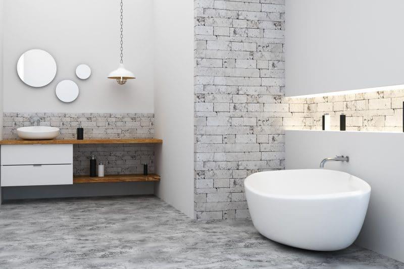 salle de bain moderne et blanche rénové