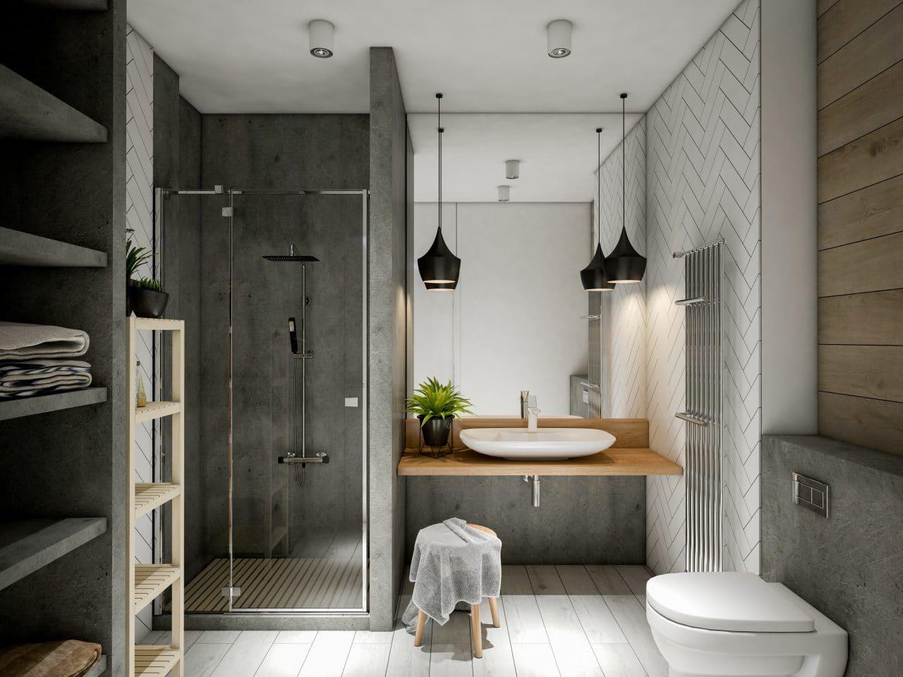 salle de bain avec douche, lavabo et WC