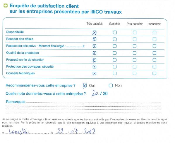 enquête satisfaction client sur entreprises présentées illiCO travaux