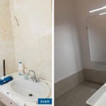 rénovation appartement salle de bain lavabo miroir peinture Antibes