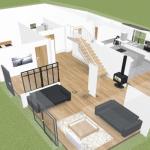 rénovation longère plan 3D aménagement Landaul
