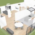 rénovation longère plan 3D agencement Landaul