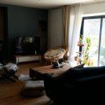 rénovation longère salon séjour parquet baie vitrée peinture Landaul