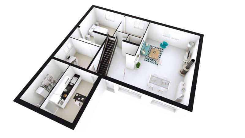 rénovation intérieure maison plan 3D Arzal