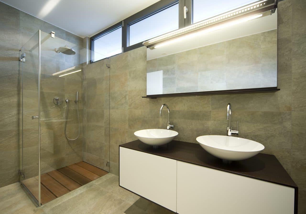 rénovation salle de bain moderne douche italienne paroi verre meuble vasque bol