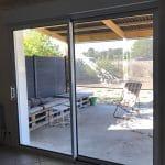 agrandissement ouverture menuiserie baie vitrée coulissante aluminium intérieur Langeais