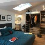 aménagement chambre suite parentale ancien garage placard dressing salle d'eau parquet Labastide-Saint-Sernin