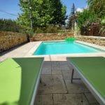 création espace piscine terrasse murets pierre dorée local piscine Villefranche-sur-Saône