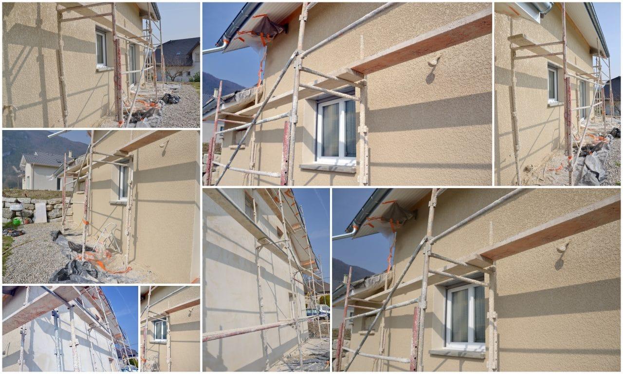 échafaudage pour ravaler une facade de maison