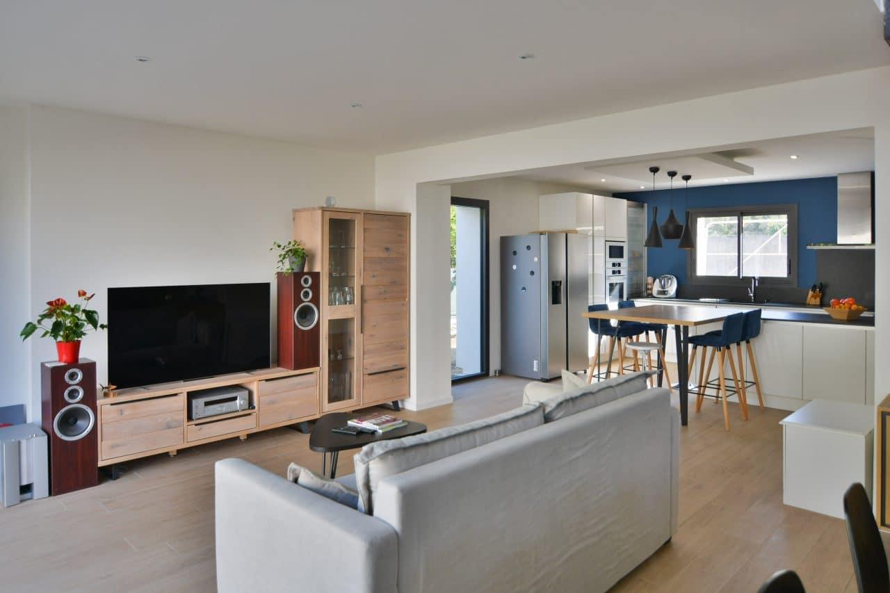 rénovation de maison à Montpellier salon cuisine