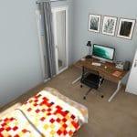 Transformation d'un T2 en T3 à Pau : plan 3D d'une chambre
