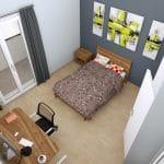 Transformation d'un T2 en T3 à Pau : plan 3 D d'une chambre