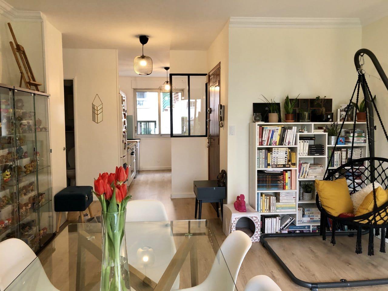 rénovation appartement séjour cuisine verrière Lyon 8