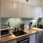 rénovation appartement cuisine aménagée rangement placard plan de travail bois Lyon 8