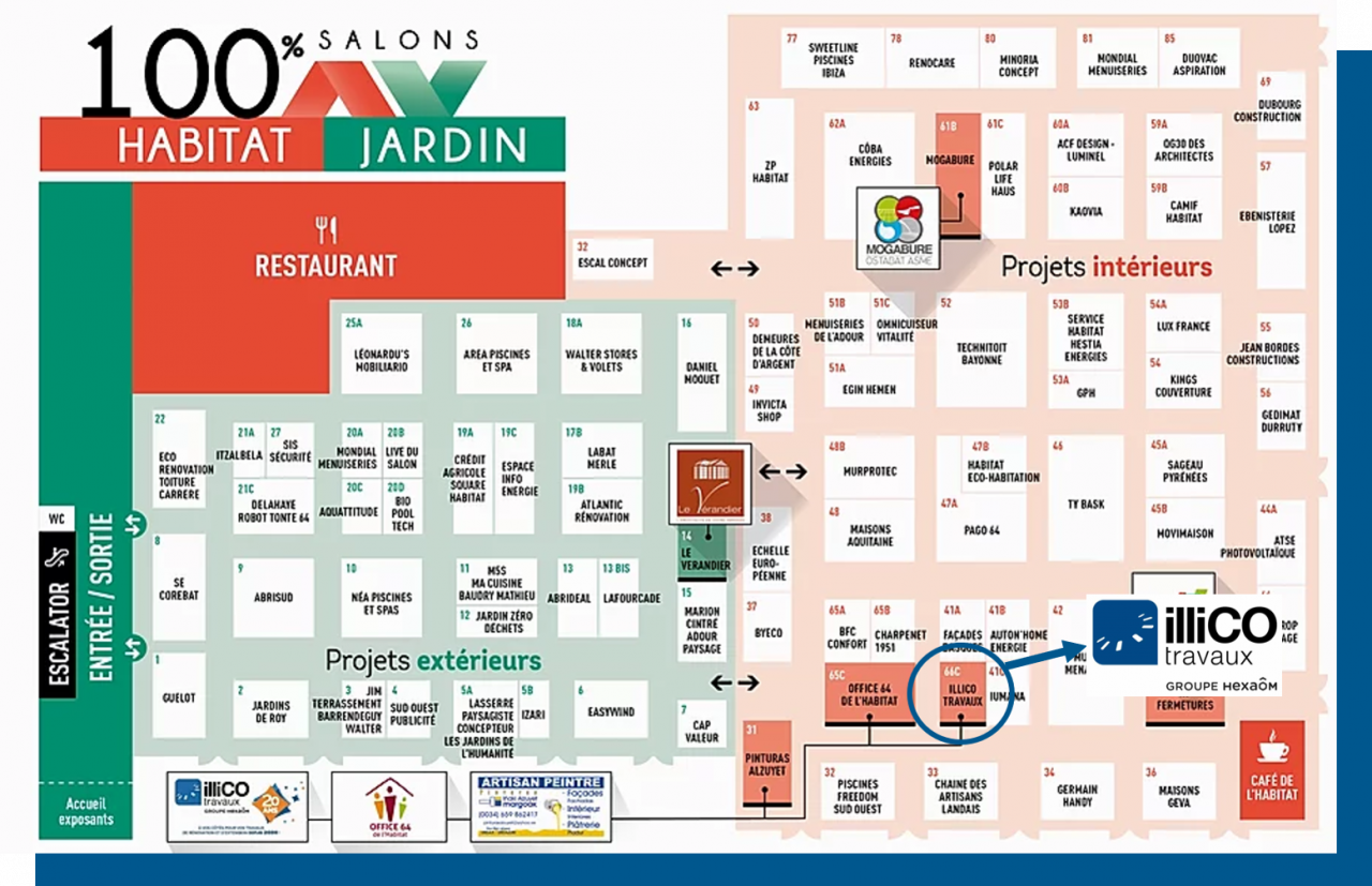 Plan salon habitat Biarritz liste exposants illiCO travaux