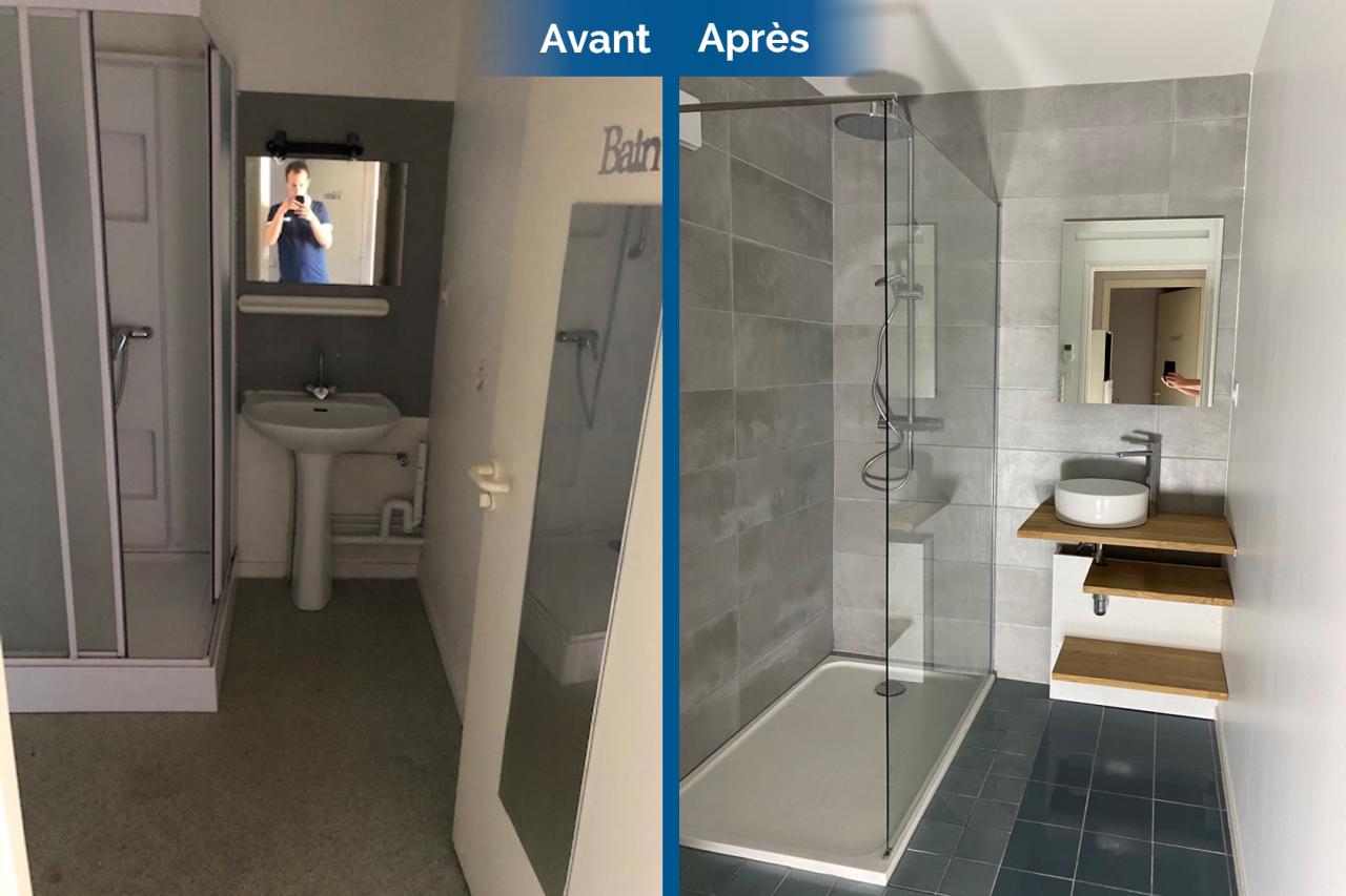 Carrelage Sol Avant Ou Apres Receveur avant/après d'une rénovation de salle de bain à la roche-sur-yon (85)
