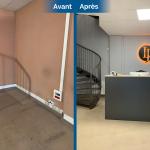 rénovation local commercial sol travertin accueil client comptoir logo avocat Saint-Etienne