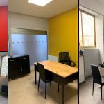rénovation local commercial bureaux cloisons colorées sol travertin parquet flottant ouverture vitrées opaques Saint-Etienne
