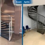 rénovation local commercial travaux peinture sablage escalier acier sol travertin ravivé Saint-Etienne