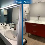 rénovation local commercial meuble vasque parquet flottant toilettes Saint-Etienne