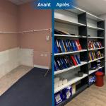 rénovation local commercial rangement dossier étagère parquet flottant mise en peinture Saint-Etienne