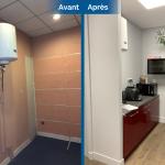 rénovation local commercial salle de repos mobilier moderne parquet flottant cuisine Saint-Etienne