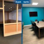 rénovation local commercial salle de réunion parquet flottant peinture mur cloison vitrée Saint-Etienne