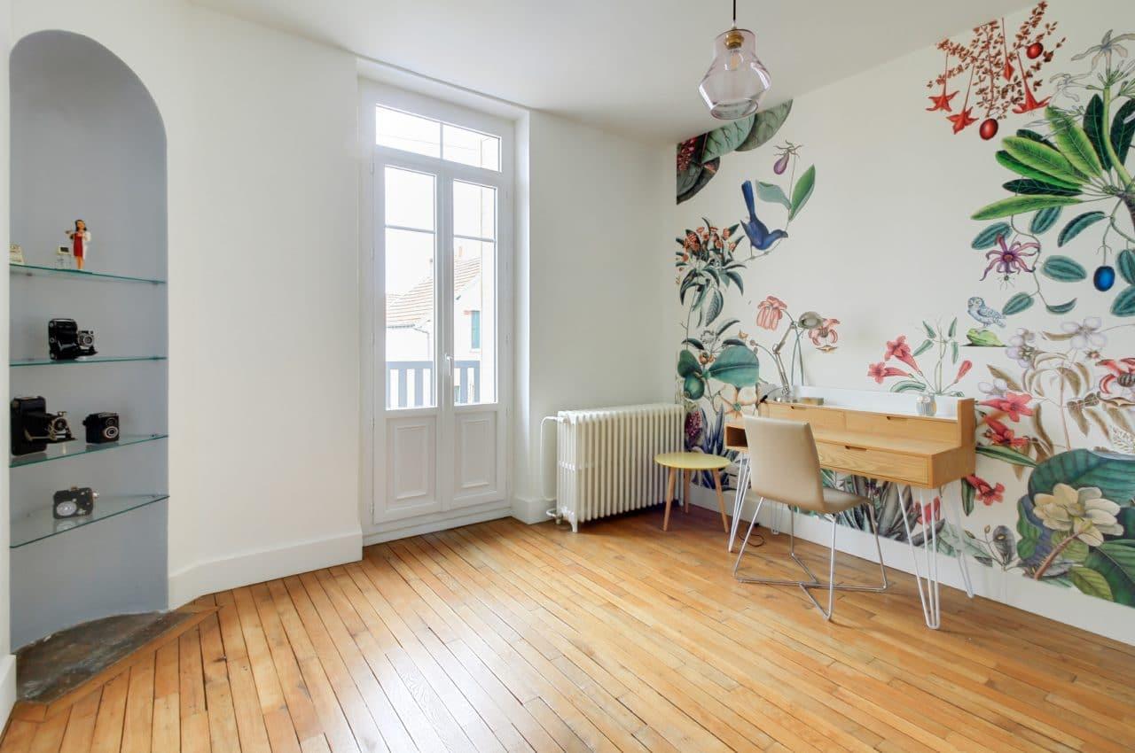rénovation surélévation maison bureau peinture papier peint nature floral parquet Dijon