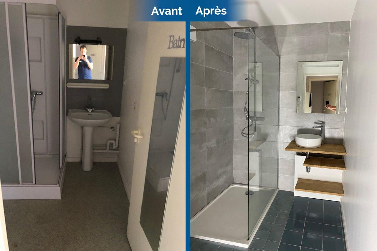 rénovation salle de bain avant après carrelage meuble vasque sur mesure faïence douche receveur extra-plat La Roche-sur-Yon