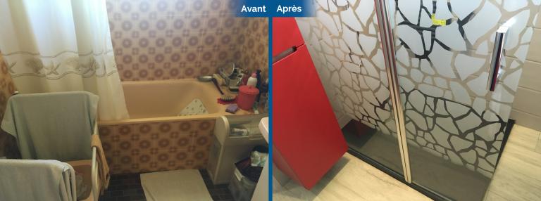 Avant/après d'une rénovation de salle de bain et de WC à Saint-Avé (56)