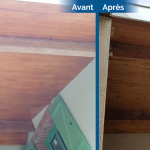 rénovation maison reprise lambris en bois de pin application lasure Pibrac