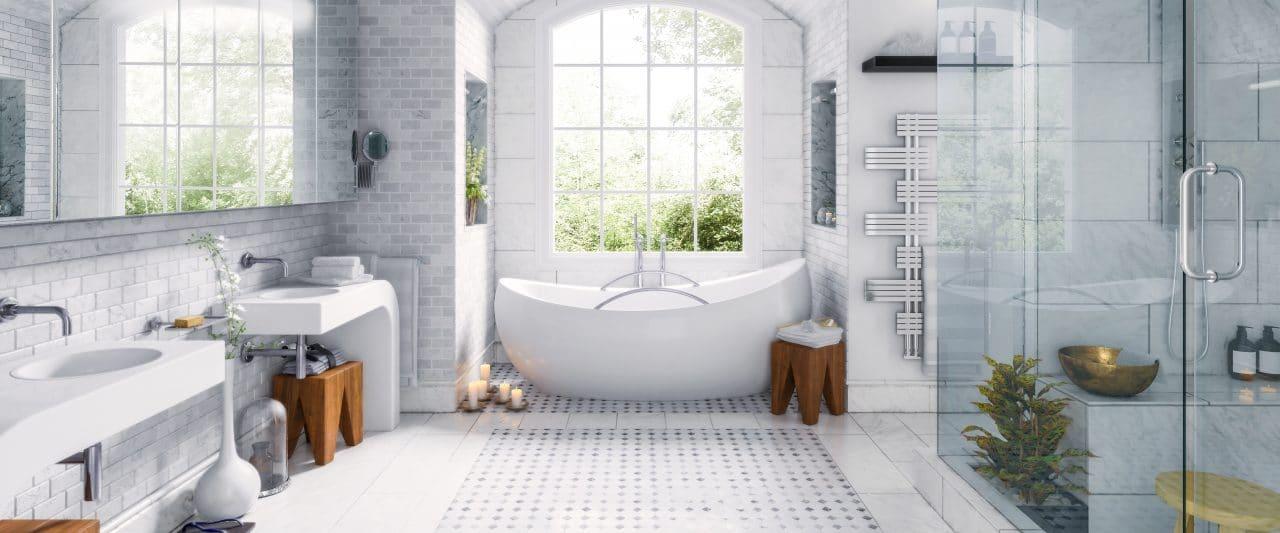 Une salle de bains de luxe dans un appartement haut de gamme