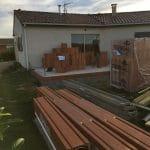 Extension de maison à Paulhac : arrivage des matériaux