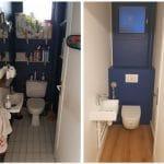 rénovation appartement WC toilettes suspendus parquet peinture lavabo Rouen