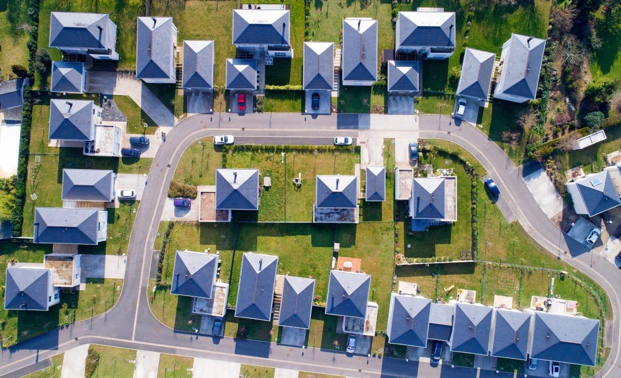vue aérienne maisons mitoyennes