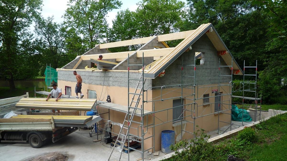 Surélévation de maison à Nancy : chantier en cours