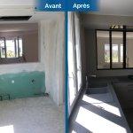 rénovation maison cuisine aménagée équipée gris blanc verrière d'intérieur Toulouse
