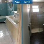 rénovation maison salle d'eau douche à l'italienne receveur extra plat paroi douche meuble vasque miroir faïence Toulouse