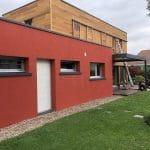 rénovation façade crépi rouge garage bardage pergola bioclimatique Grenoble
