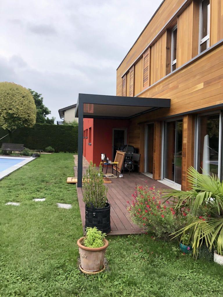 rénovation façade bardage pergola bioclimatique sur mesure lame orientable Grenoble