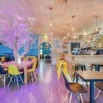 rénovation restaurant mur végétal peinture sol bois faux plafond mur pierre sablage Lyon 6