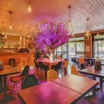 rénovation restaurant faux plafond parement bois mur en pierre électricité mobilier Lyon 6