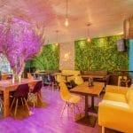 rénovation restaurant mur végétal meuble parement bois faux plafond Lyon 6
