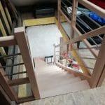 rénovation grange escalier en bois intérieur aménagement étage Saint-Prest