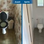 rénovation maison WC toilettes fenêtre carrelage Arradon